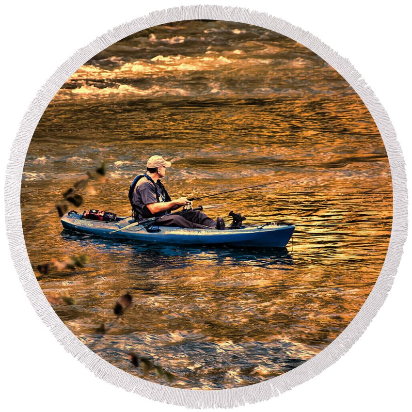 Fishing Round Beach Towel featuring the photograph Fishing The Golden Hour by Steven Richardson
