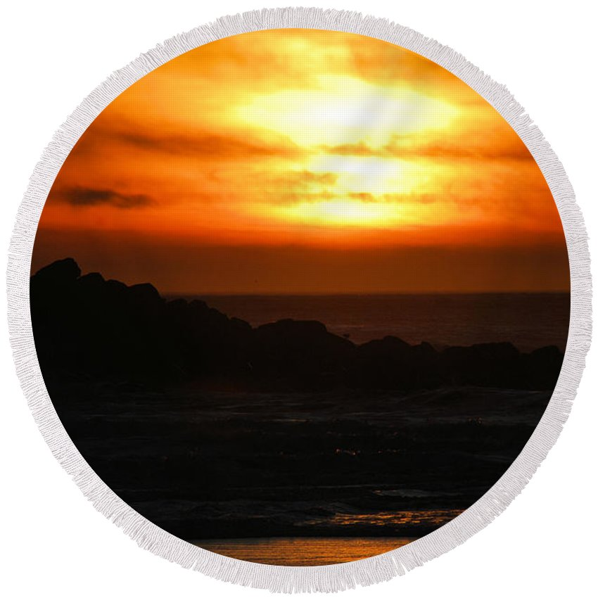 Sunset Round Beach Towel featuring the photograph Fishing Vessel At Sunset by Michael Merry