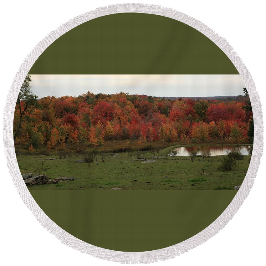 Flaming Foliage Round Beach Towel featuring the photograph Flaming Foliage Autumn Pasture by John Stephens