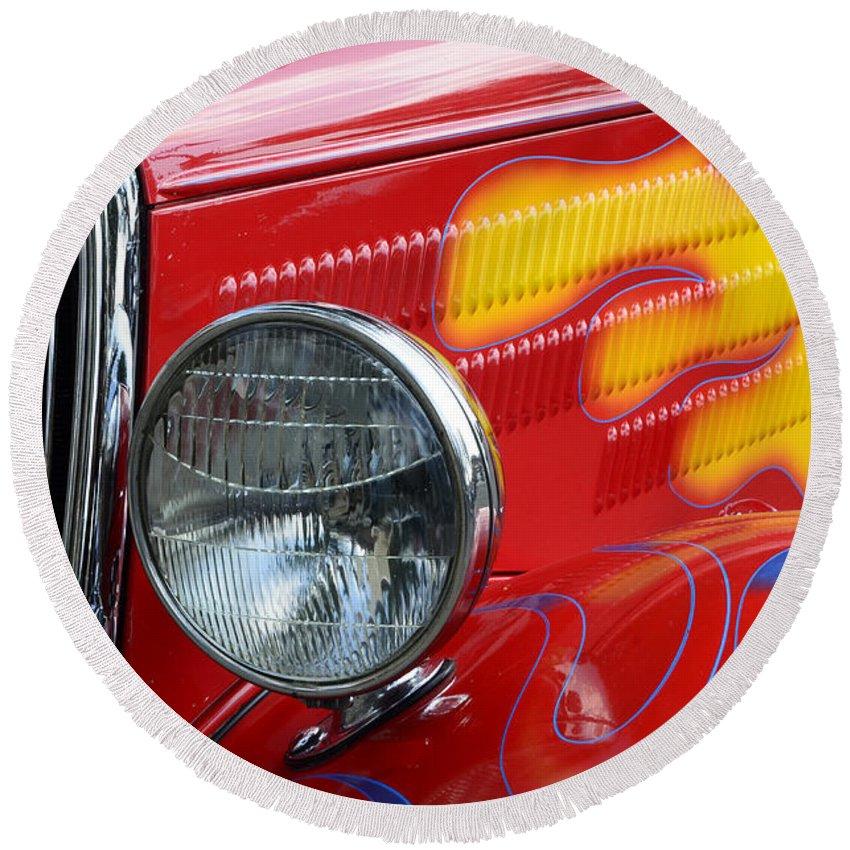 Automobile Art Round Beach Towel featuring the photograph Flaming Hot Rod 2 by Bob Christopher