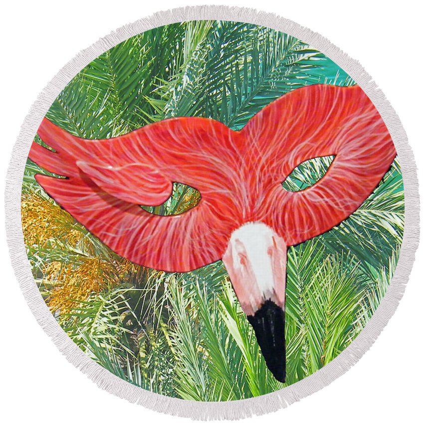 Flamingo Round Beach Towel featuring the mixed media Flamingo Mask 2 by Lizi Beard-Ward