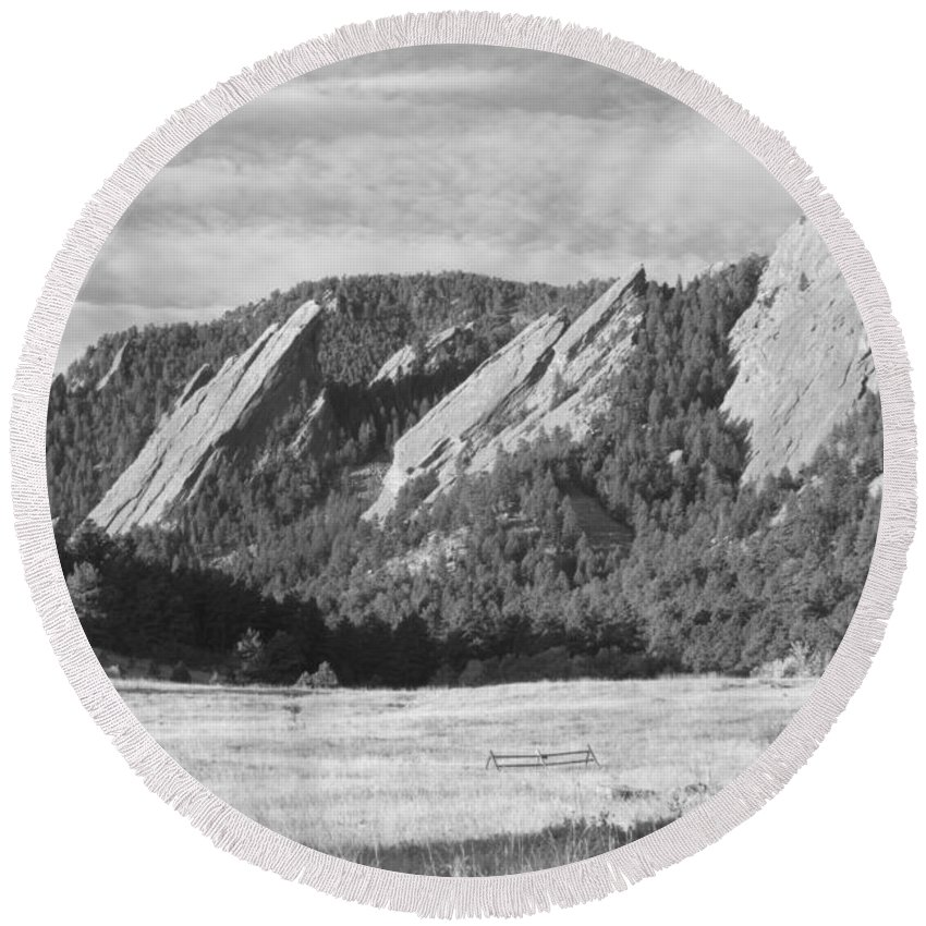 Boulder Photos Round Beach Towel featuring the photograph Flatirons Boulder Colorado Black And White Photo by James BO Insogna