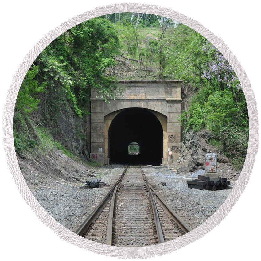 Flatrock Tunnel Round Beach Towel featuring the photograph Flatrock Tunnel by Bill Cannon