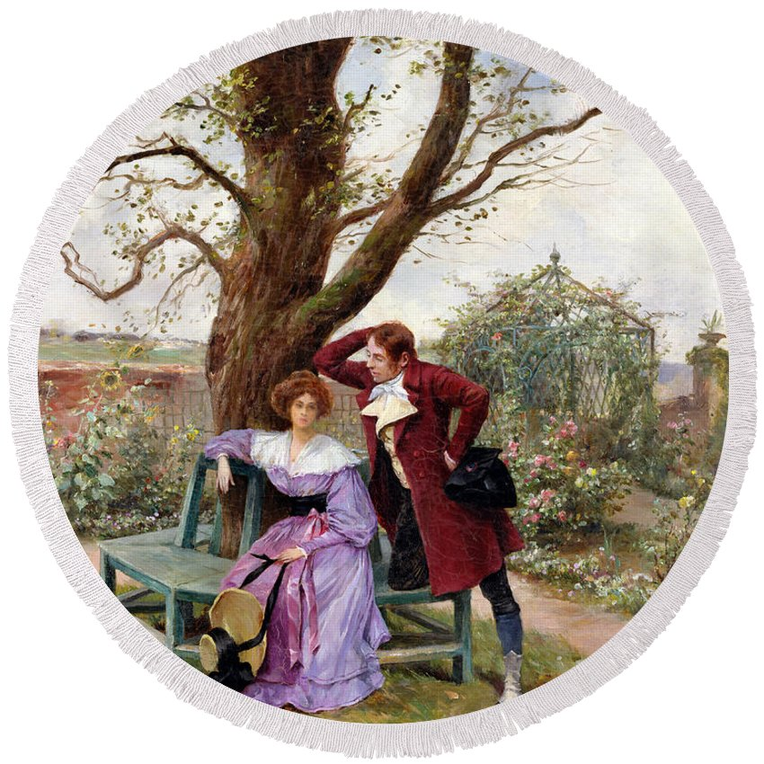 Courting; Garden Scene; Courtship; Love; Conversation; Gazebo; Victorian Round Beach Towel featuring the painting Flirtation by Georges Jules Auguste Cain