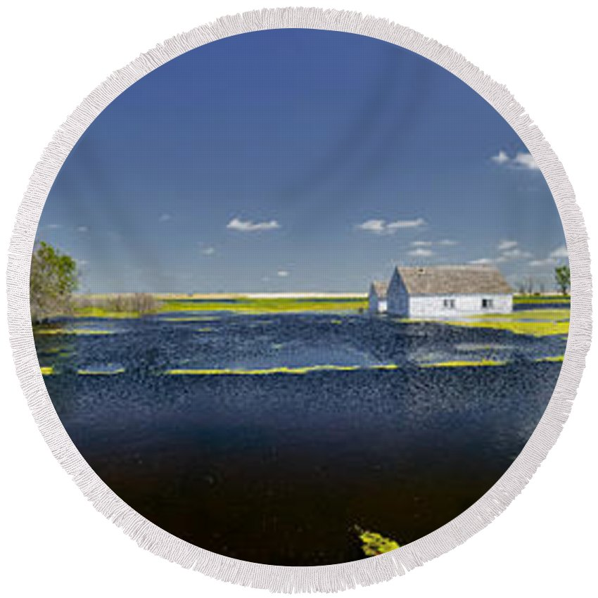 Americas Round Beach Towel featuring the photograph Flooded Farm by Roderick Bley