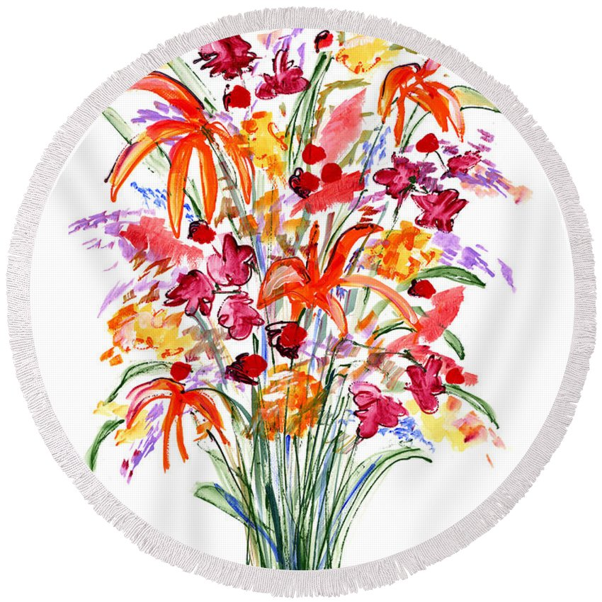 Flowers Round Beach Towel featuring the painting Floral Six by Lynne Taetzsch