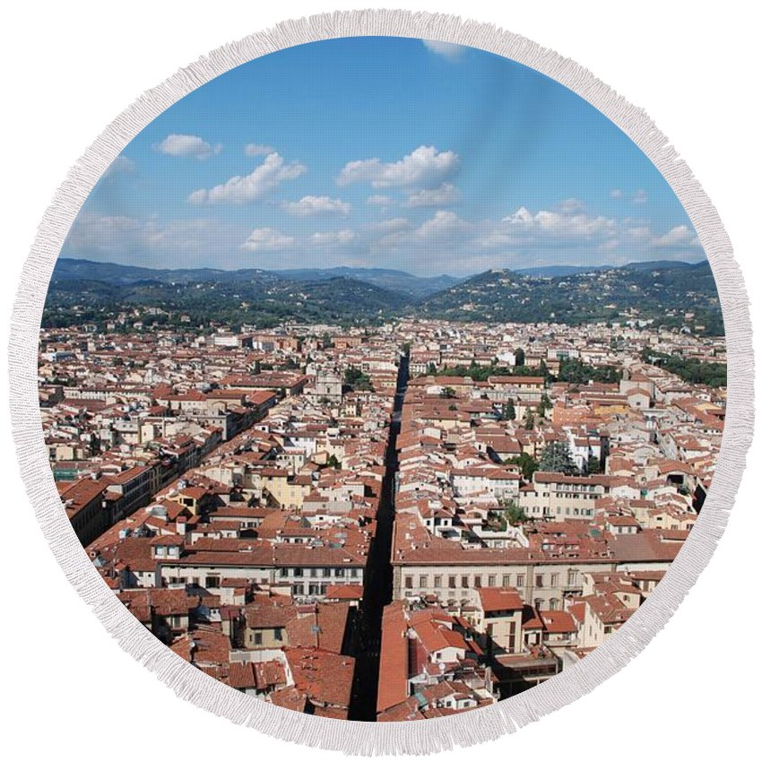 Florence Round Beach Towel featuring the photograph Florence From The Duomo by Dany Lison