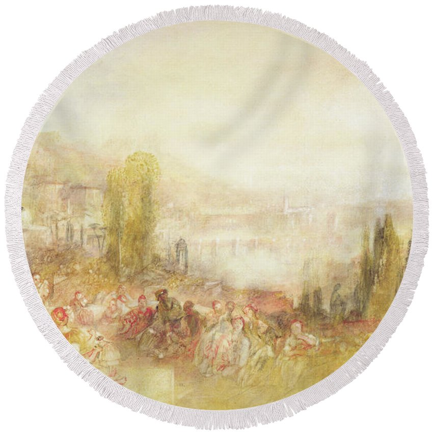 Florence Round Beach Towel featuring the painting Florence by Joseph Mallord William Turner