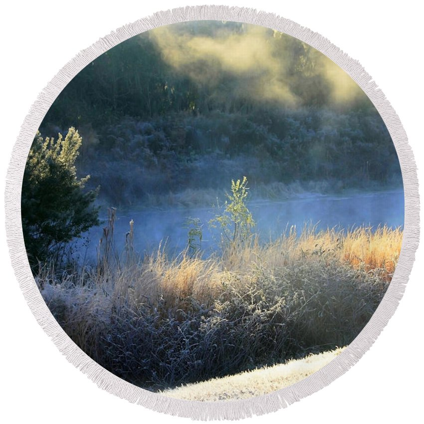 Florida Frost Round Beach Towel featuring the photograph Florida Frosty Morning by Carol Groenen