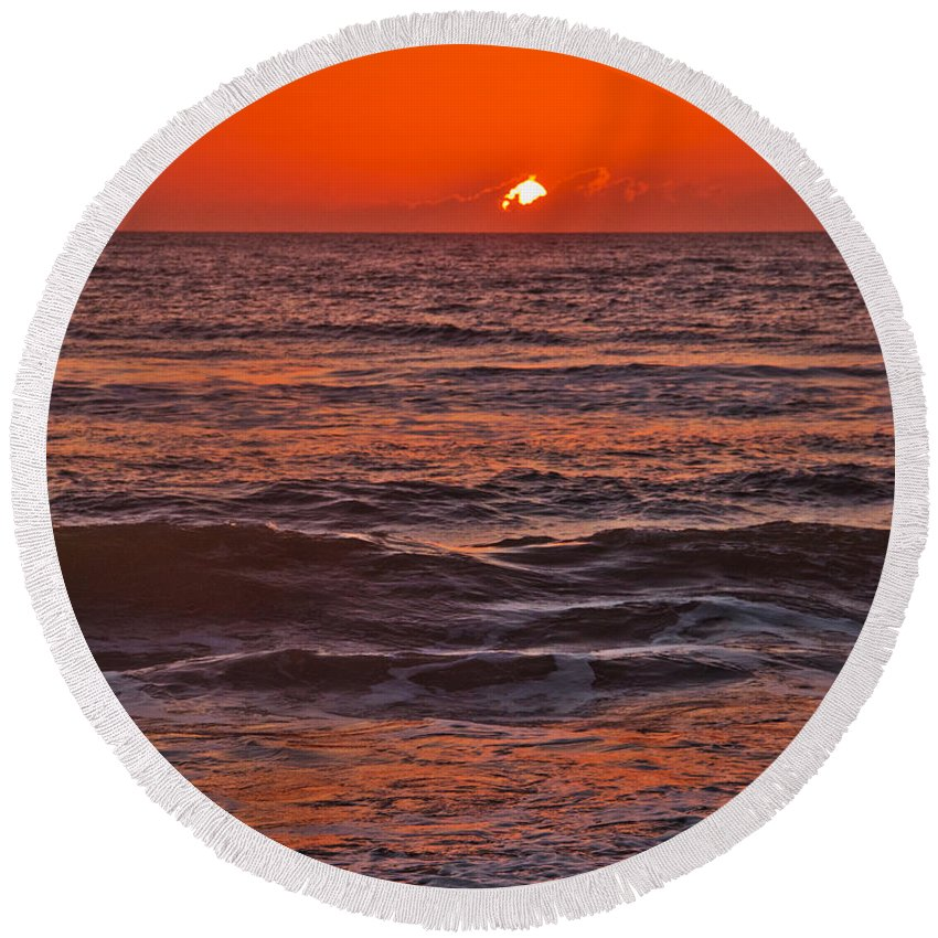 Florida Round Beach Towel featuring the photograph Florida Sunrise by Roger Wedegis