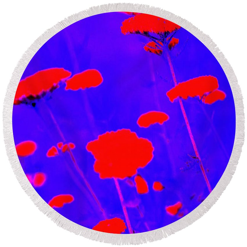 Flourescent Round Beach Towel featuring the photograph Flourescent Florals by Deborah Crew-Johnson