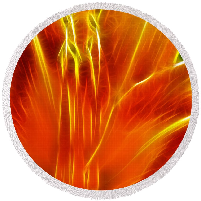 Flower - Electric Lily - Abstract Round Beach Towel featuring the photograph Flower - Orange - Abstract by Paul Ward