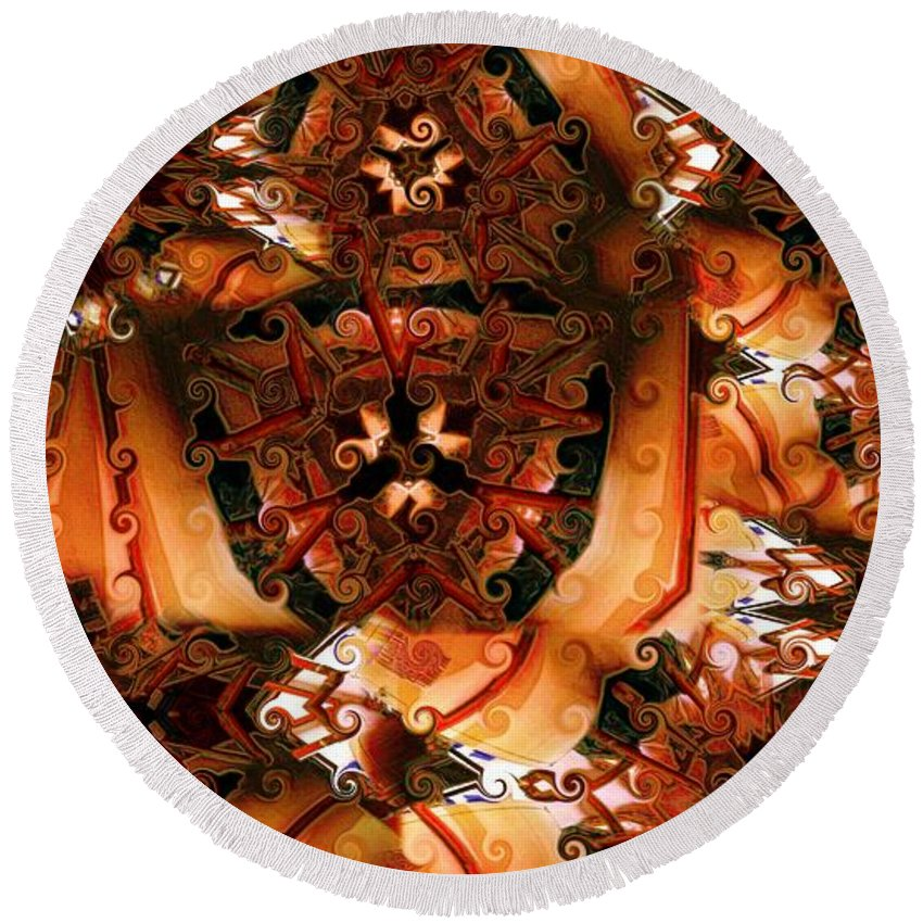 Abstract Round Beach Towel featuring the digital art Flower Pattern In Sepia by Ron Bissett