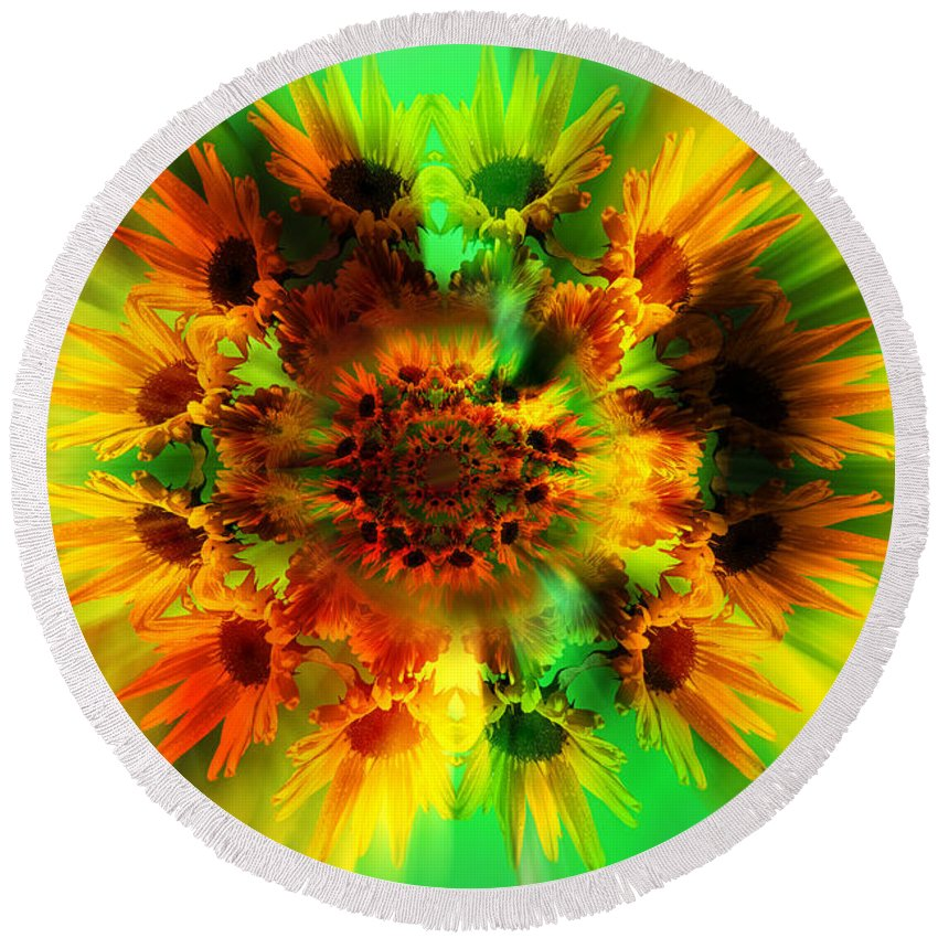Abstract Round Beach Towel featuring the photograph Flower Power by Nathan Wright