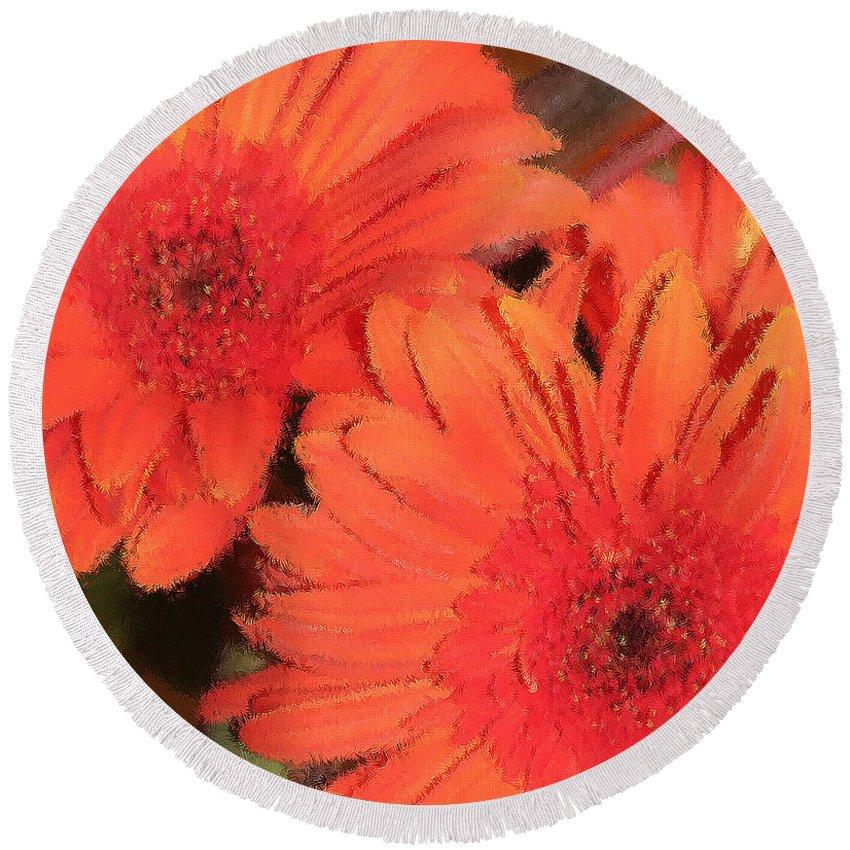 Orange Round Beach Towel featuring the digital art Flower Power by Peggy Starks