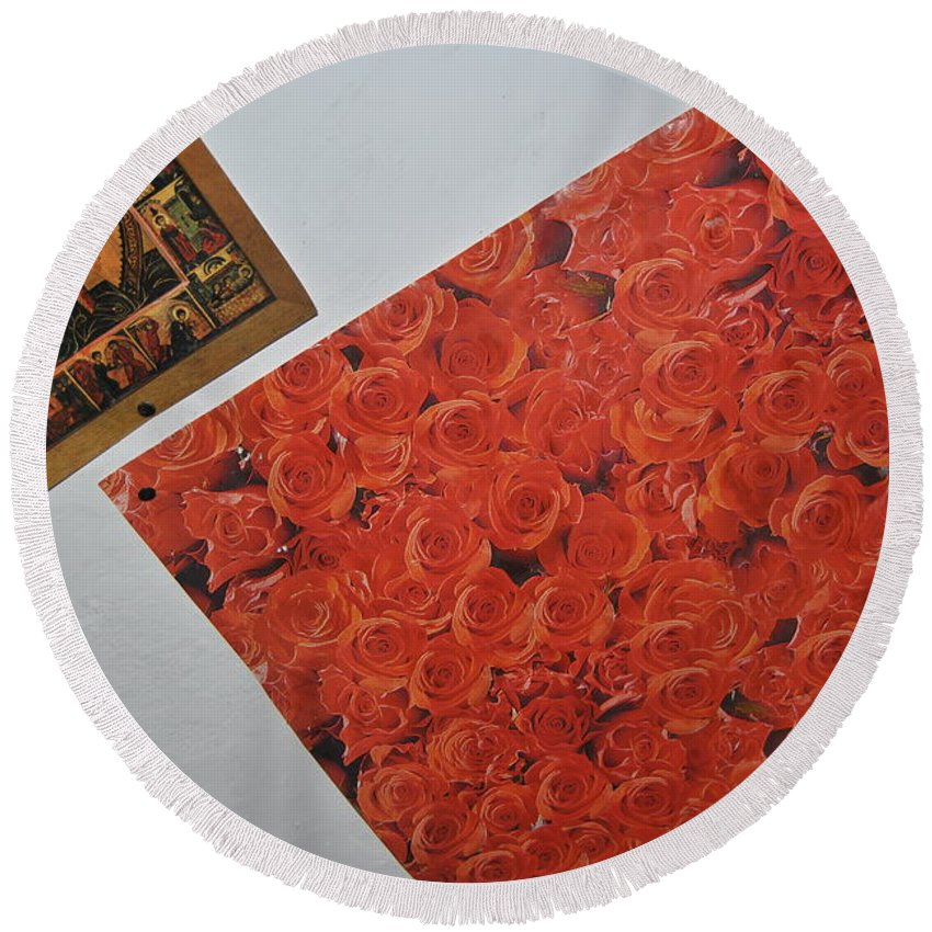 Flowers Round Beach Towel featuring the photograph Flowers Without Justin by Pierdutin