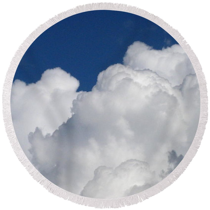 Clouds Round Beach Towel featuring the photograph Fluffy Goodness by Rhonda Barrett