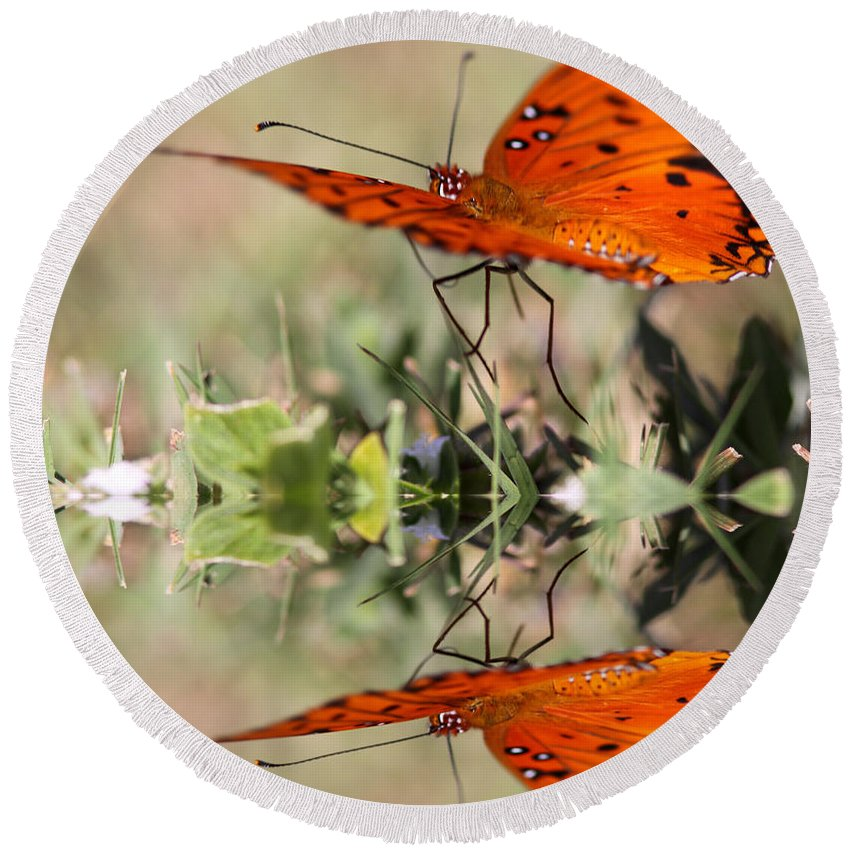 Reflections Round Beach Towel featuring the photograph Fluttering Reflections - Butterfly by Travis Truelove
