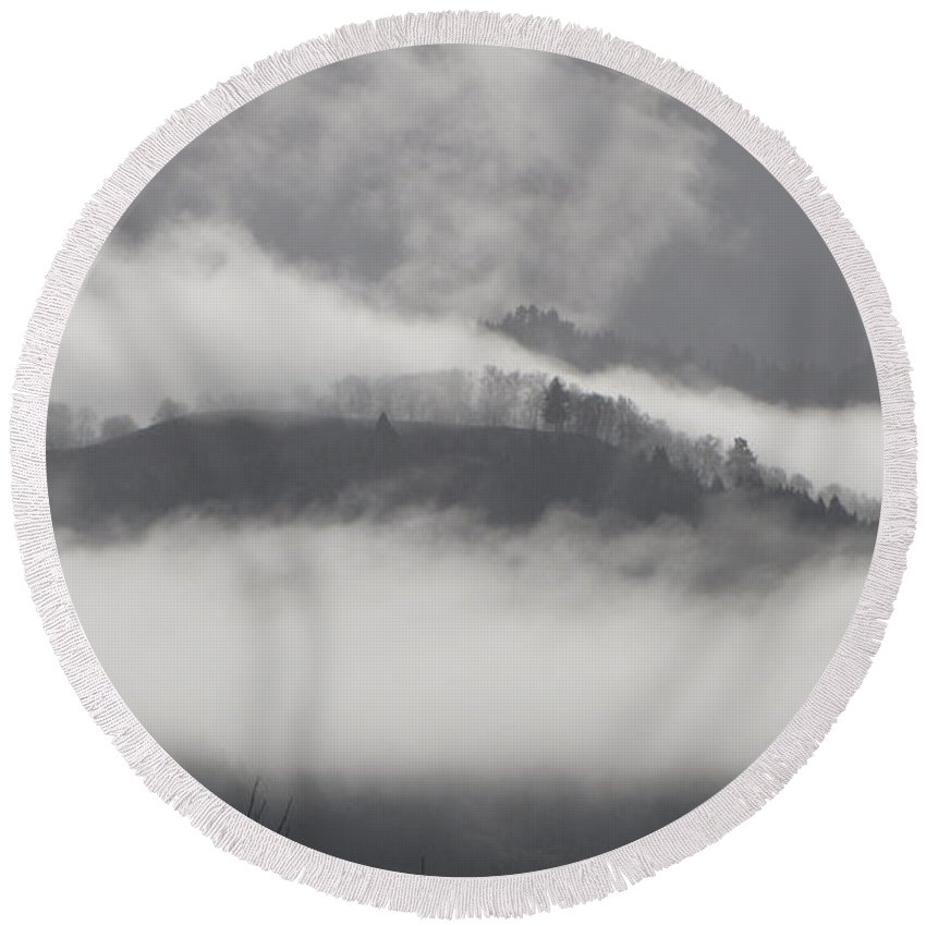 Fog Round Beach Towel featuring the photograph FOG by Katie Wing Vigil