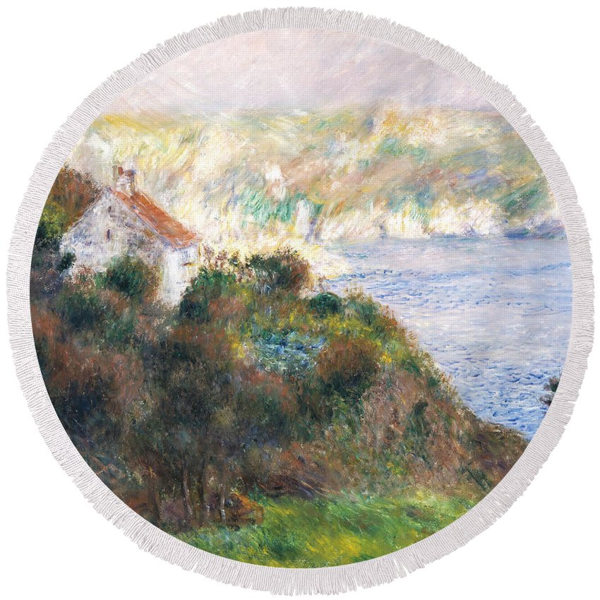 Fog Round Beach Towel featuring the painting Fog On Guernsey by Pierre Auguste Renoir