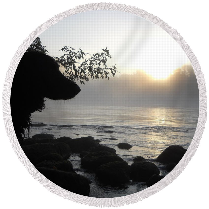 Fog Round Beach Towel featuring the photograph Fog On The Rocks Sunrise by Kent Lorentzen
