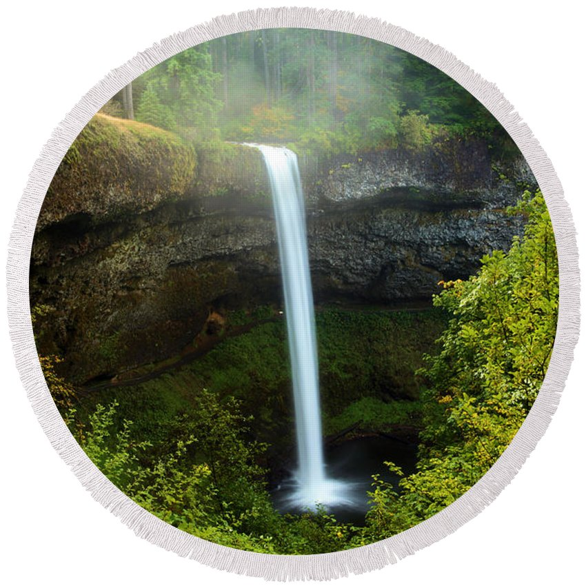 Silver Falls State Park Round Beach Towel featuring the photograph Fog Over The Falls by Adam Jewell