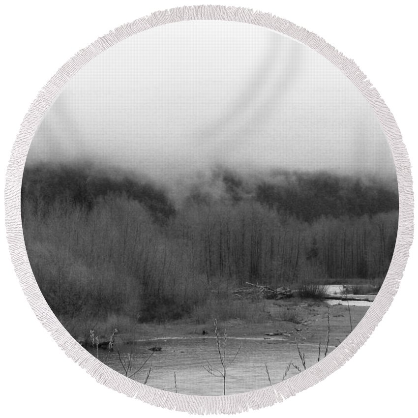 River Round Beach Towel featuring the photograph Foggy Down The Mountain by Kathleen Grace