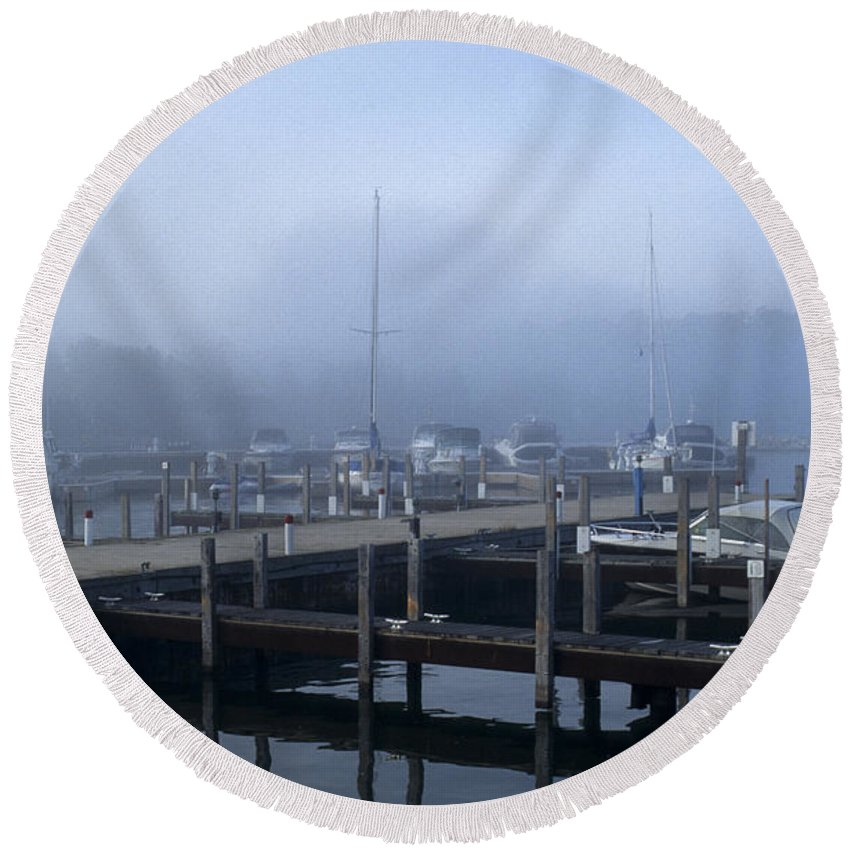 Sandra Bronstein Round Beach Towel featuring the photograph Foggy Morning In Door County by Sandra Bronstein