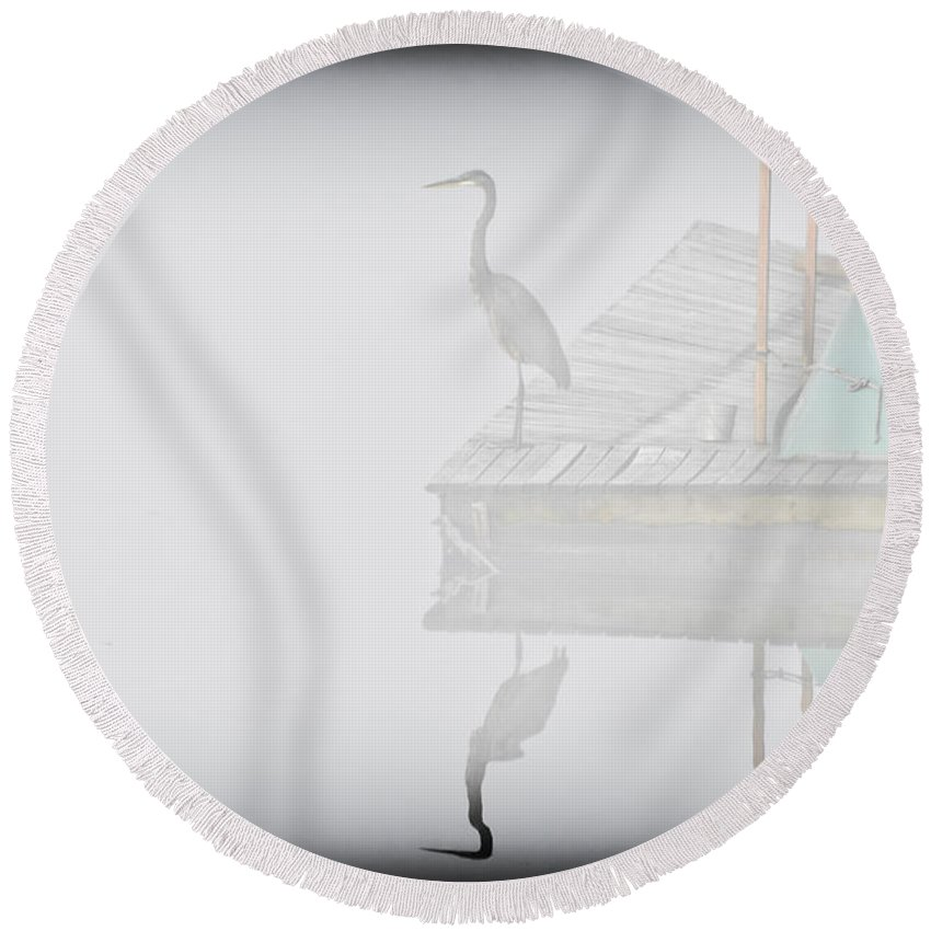 Heron Round Beach Towel featuring the photograph Foggy Reflection by Kim Henderson