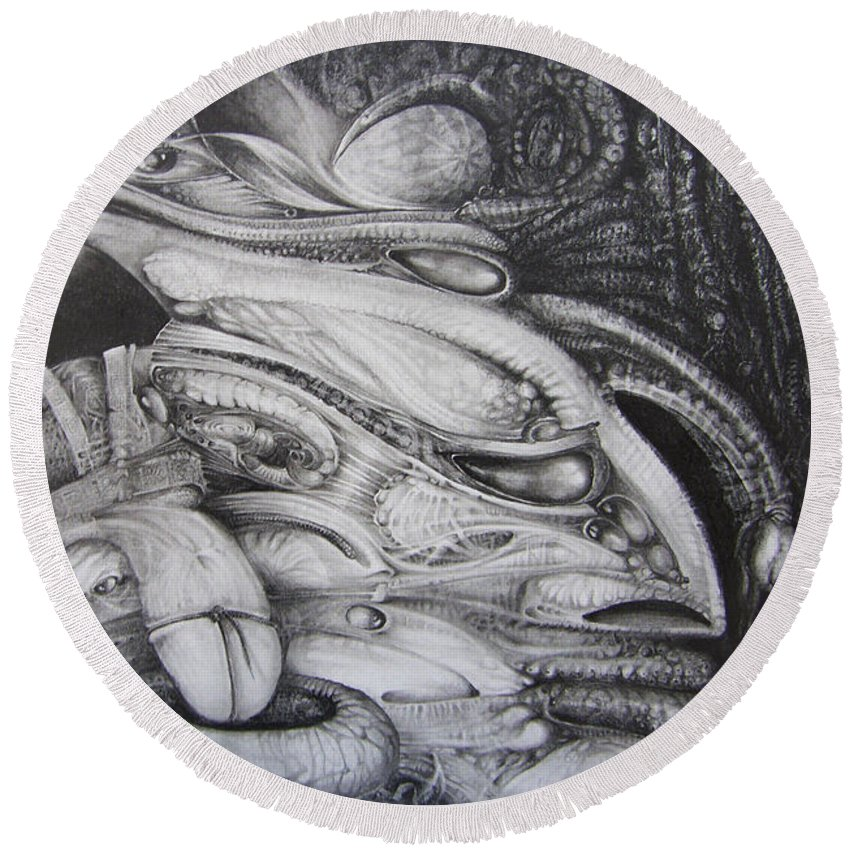 Fomorii Round Beach Towel featuring the drawing Fomorii General by Otto Rapp