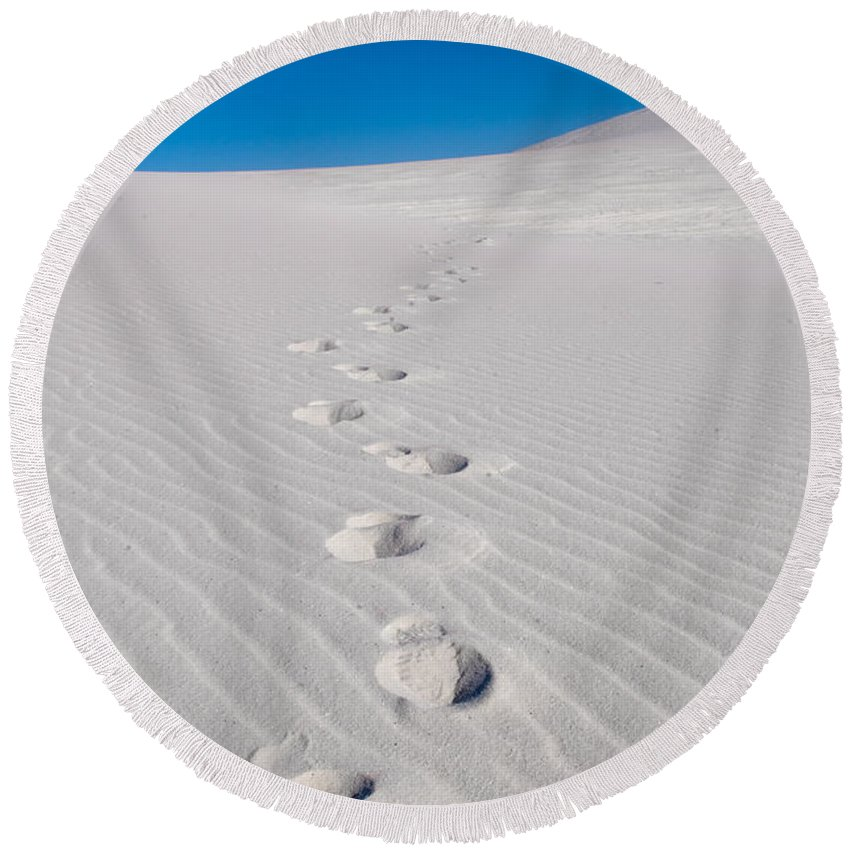 New Mexico Round Beach Towel featuring the photograph Foot Prints In White Sands 2 by Sean Wray