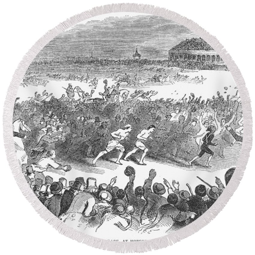 1844 Round Beach Towel featuring the photograph Foot Race, 1844 by Granger