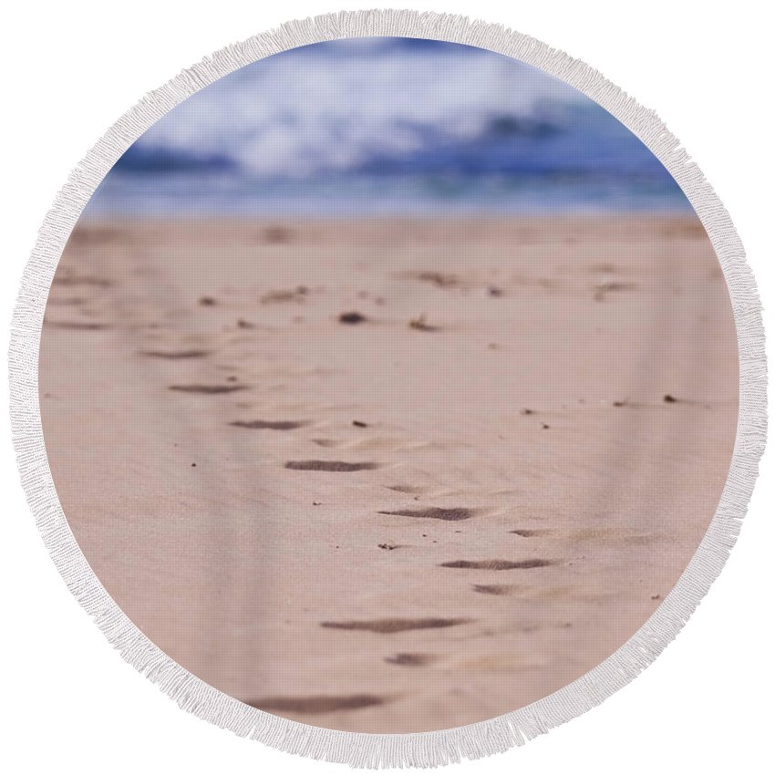 Beach Round Beach Towel featuring the photograph Footprints by Michelle Wrighton