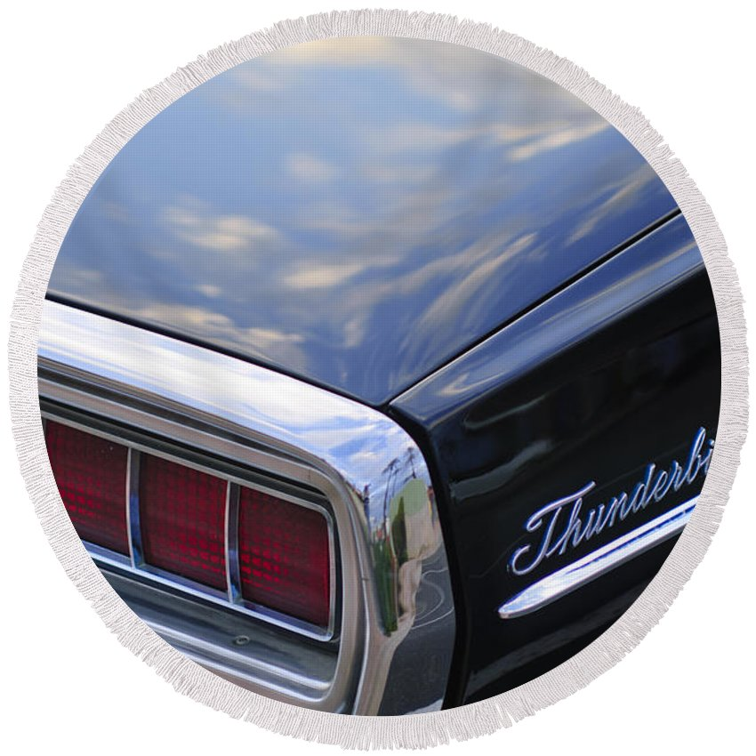 Ford Thunderbird Round Beach Towel featuring the photograph Ford Thunderbird Taillight by Jill Reger
