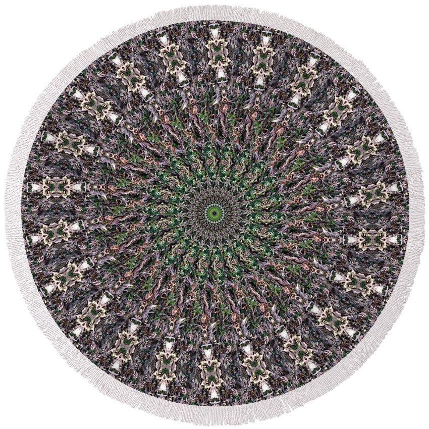 Mandala Round Beach Towel featuring the digital art Forest Mandala 2 by Rhonda Barrett