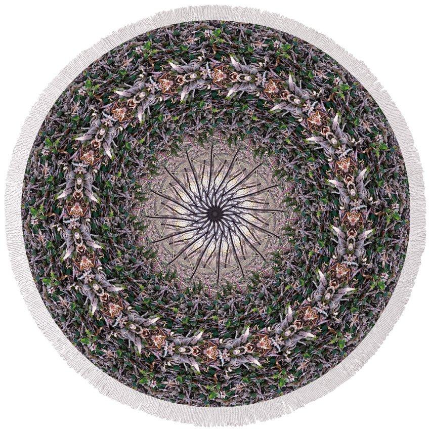 Mandala Round Beach Towel featuring the digital art Forest Mandala 5 by Rhonda Barrett