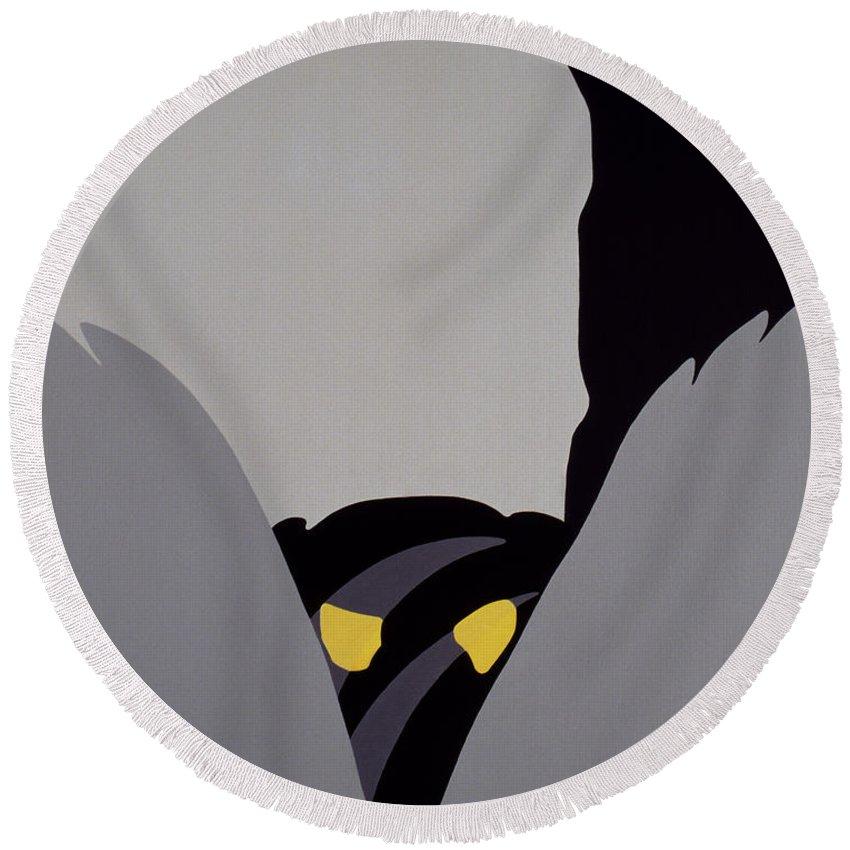 forest Of The Night Round Beach Towel featuring the painting Forest Of The Night by John Bowers