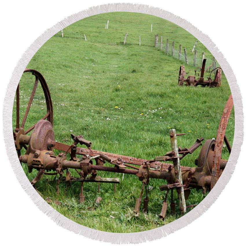 Farm Equipment Round Beach Towel featuring the photograph Forgotten Farm Equipment by Christiane Schulze Art And Photography