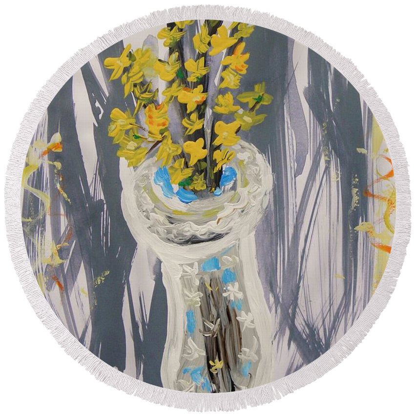 Forsythia Round Beach Towel featuring the painting Forsythia In Old Clear Vase Mary Carol by Mary Carol Williams