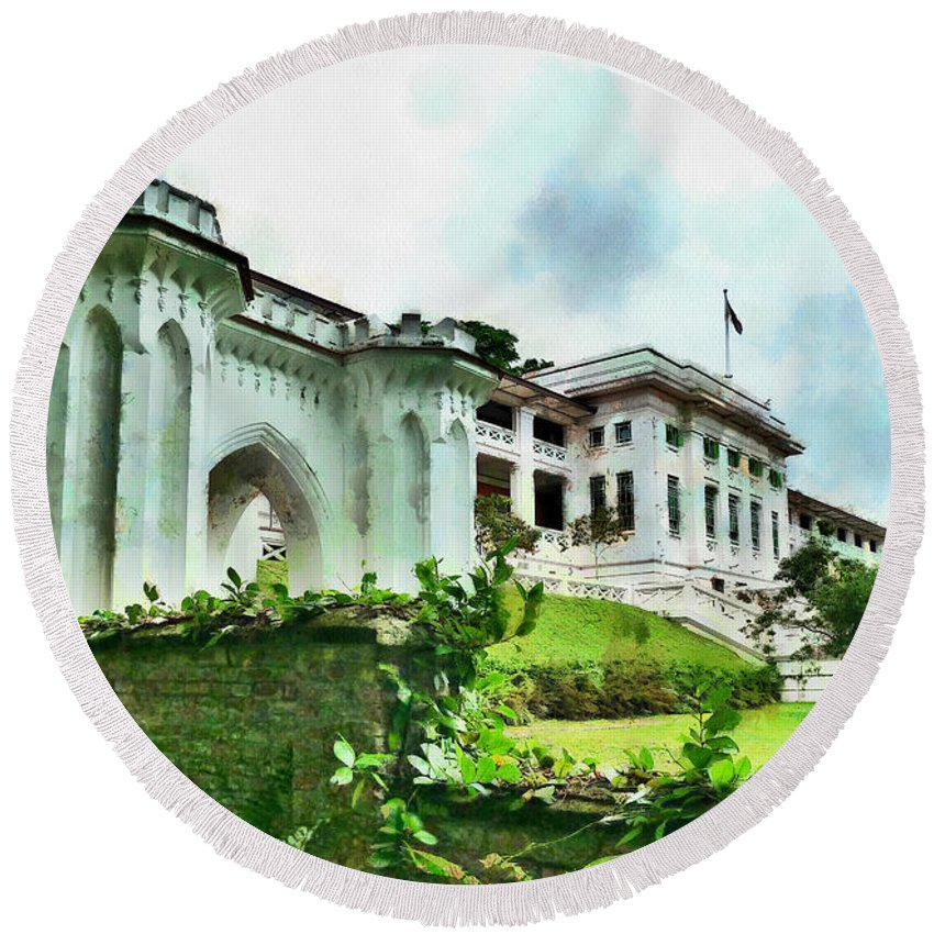 Fort Canning Round Beach Towel featuring the photograph Fort Canning Park Visitor Centre by Steve Taylor