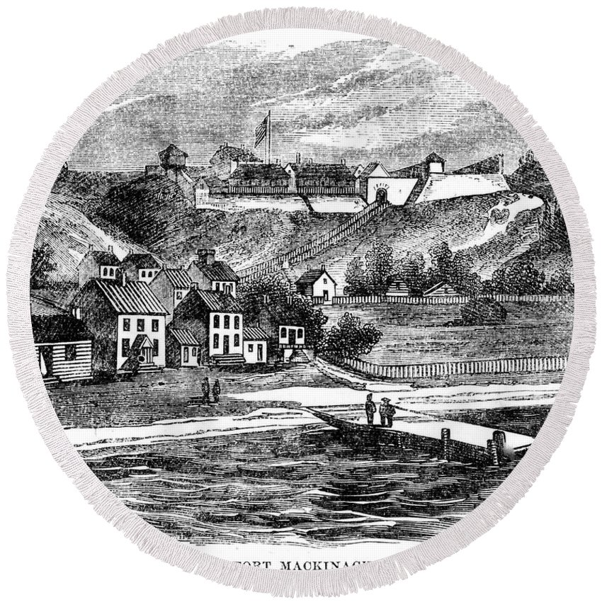 1812 Round Beach Towel featuring the photograph Fort Mackinac, C1814 by Granger
