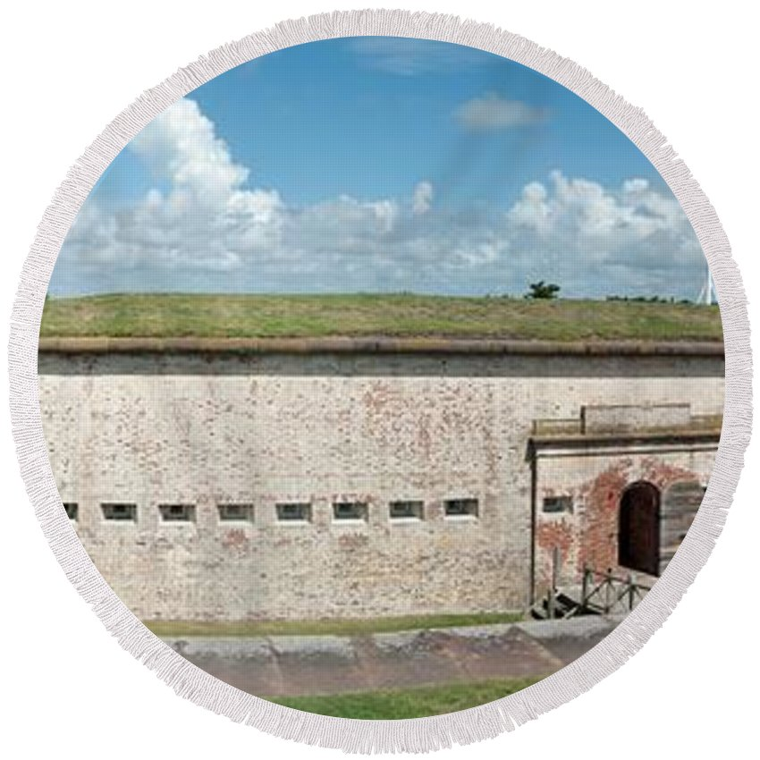 Beaufort Round Beach Towel featuring the photograph Fort Macon Panorama 1 by Michael Peychich