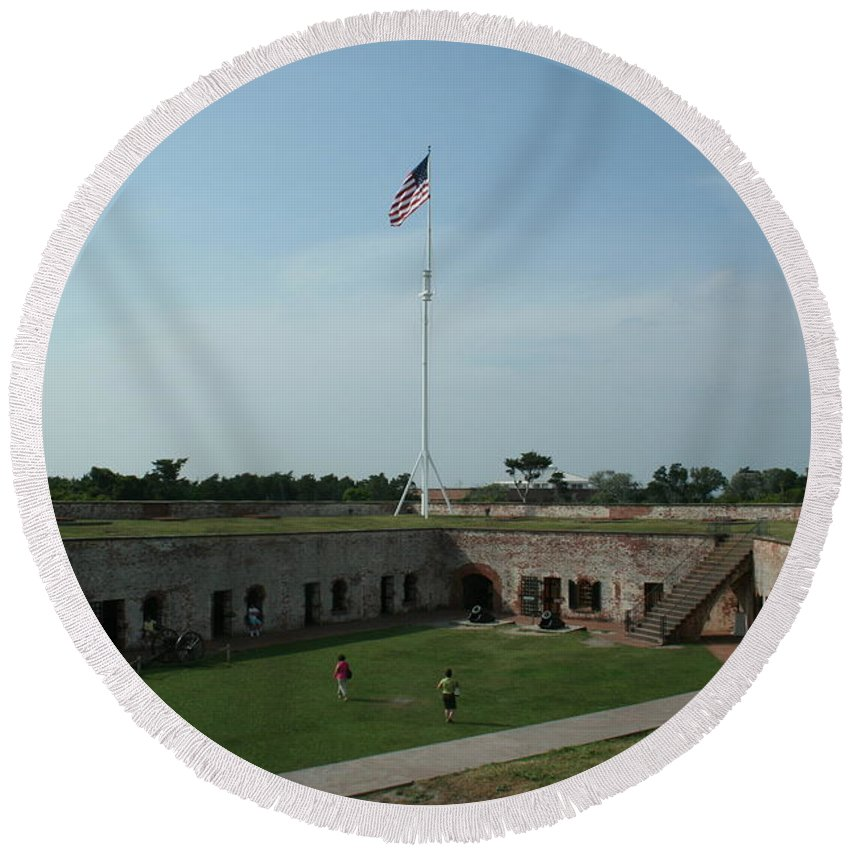 Fort Macon Round Beach Towel featuring the photograph Fort Macon by Tommy Anderson