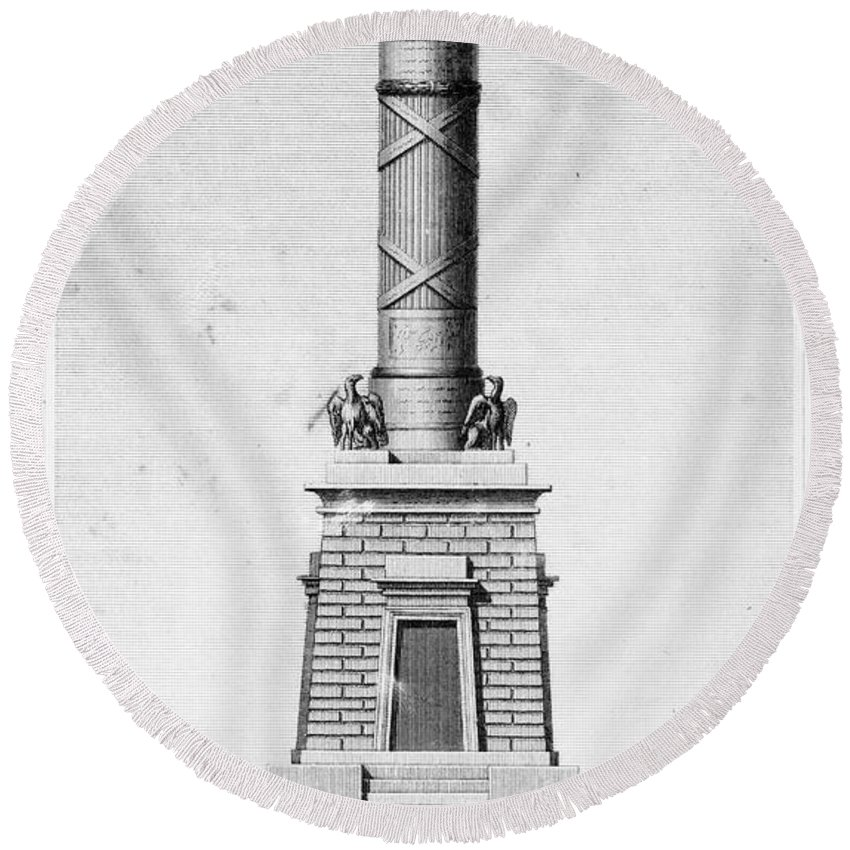1814 Round Beach Towel featuring the photograph Fort Mchenry Memorial by Granger