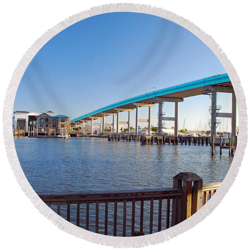 Florida Round Beach Towel featuring the photograph Fort Myers Bridge by Gary Wonning