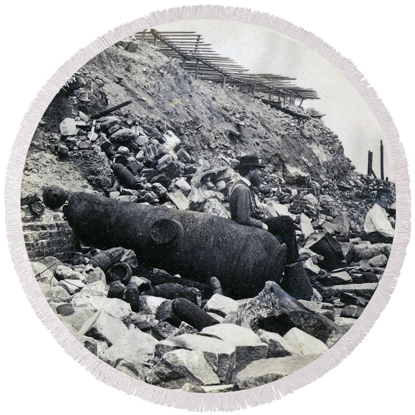 Fort Round Beach Towel featuring the photograph Fort Sumter Civil War Debris - C 1865 by International Images