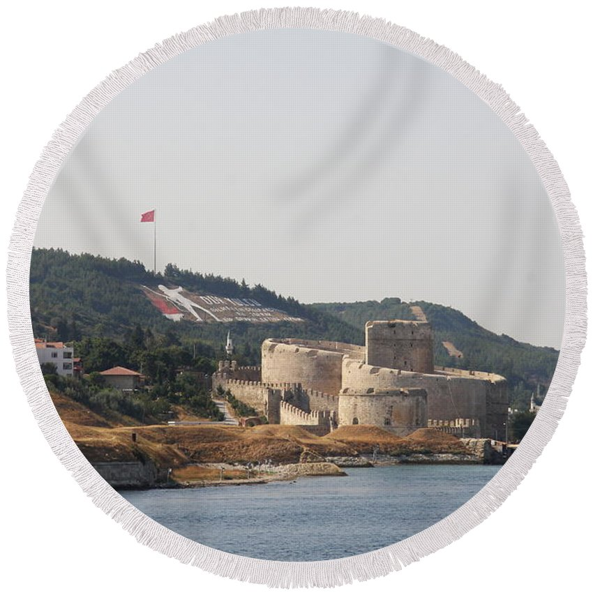 Fortress Round Beach Towel featuring the photograph Fortress Canakkale - Dardanelles by Christiane Schulze Art And Photography