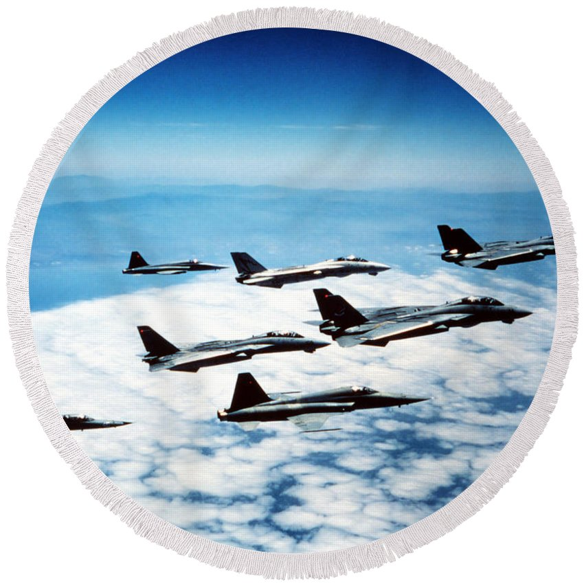 Formation Round Beach Towel featuring the photograph Four F-14 Tomcats And Three F-5 Tiger by Dave Baranek