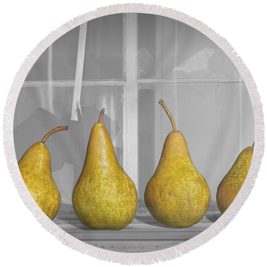 Art Round Beach Towel featuring the photograph Four Pears On Windowsill by Randall Nyhof