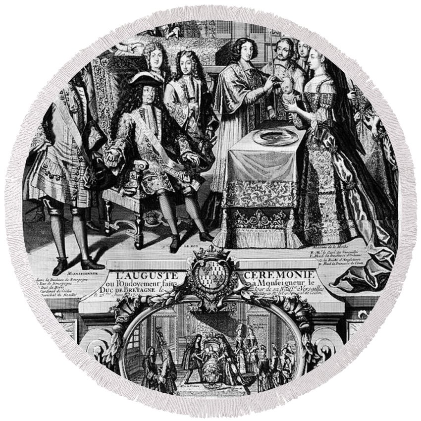 1704 Round Beach Towel featuring the photograph France: Baptism, 1704 by Granger